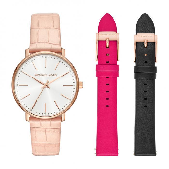 SKU-36879 / MICHAEL KORS Pyper Crystals Pink Leather Strap Gift Set