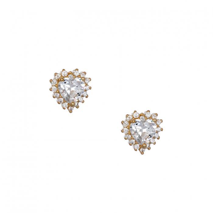 SKU-36954 / Σκουλαρίκια Καρδιά Ασήμι 925° Ζιργκόν