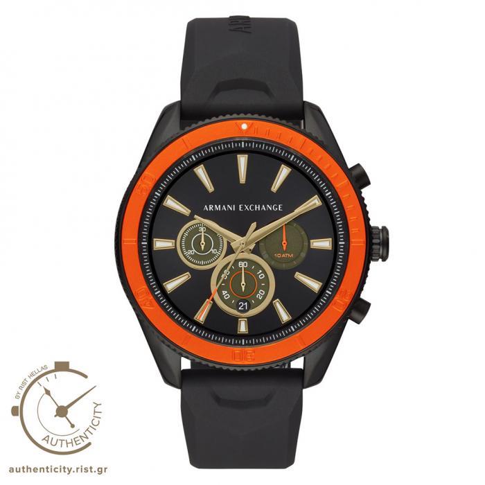 SKU-37486 / ARMANI EXCHANGE Chronograph Black Silicone Strap