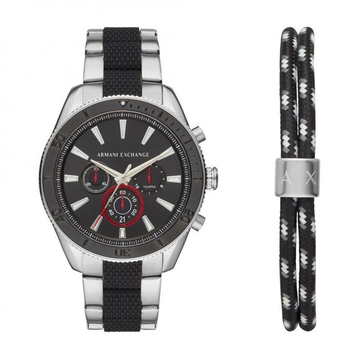 SKU-37479 / ARMANI EXCHANGE Chronograph Two Tone Stainless Steel Bracelet Gift Set