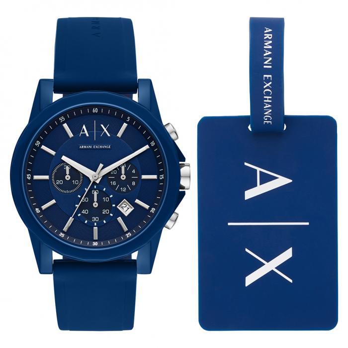 SKU-37222 / ARMANI EXCHANGE Outerbanks Chronograph Blue Silicone Strap