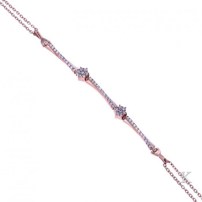 SKU-37114 / Βραχιόλι Ροζ Χρυσός Κ14 με Ζιργκόν