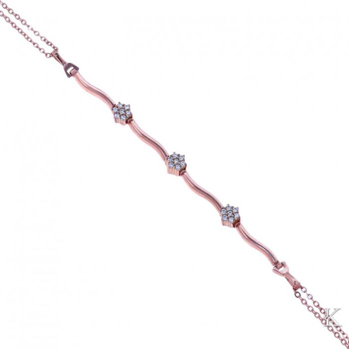 SKU-37122 / Βραχιόλι Ροζ Χρυσός Κ14 με Ζιργκόν