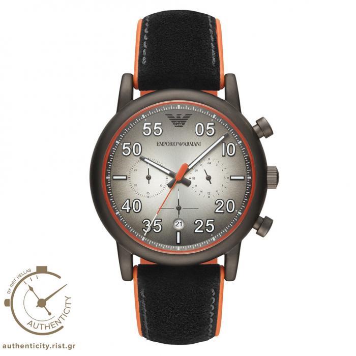 SKU-37524 / EMPORIO ARMANI Luigi Black Leather Strap