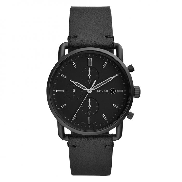 SKU-37621 / FOSSIL The Commuter Chronograph Black Leather Strap