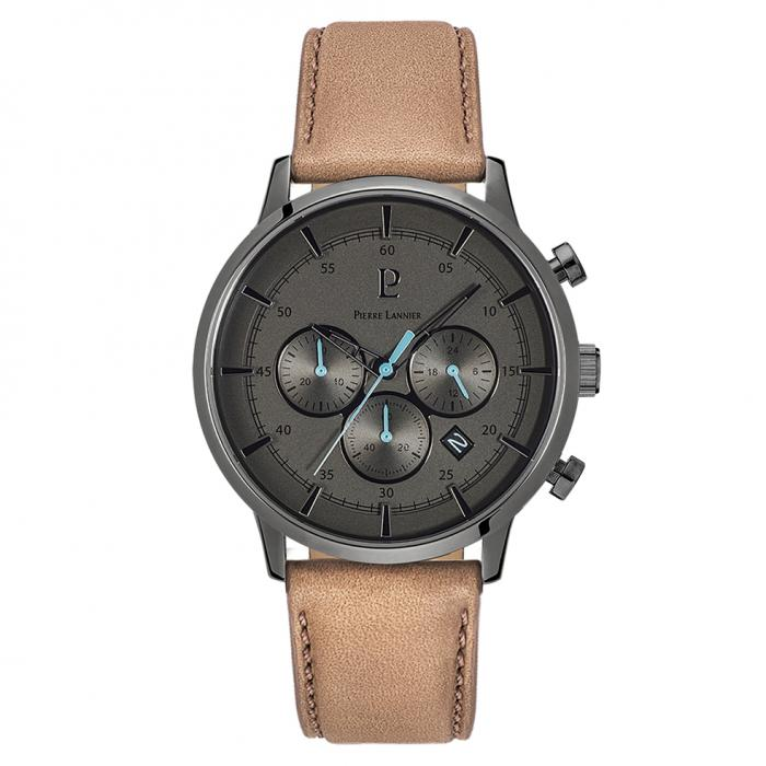 SKU-37866 / PIERRE LANNIER Dune Chronograph Beige Leather Strap