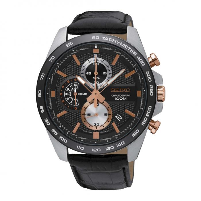 SKU-37314 / SEIKO Chronograph Black Leather Strap