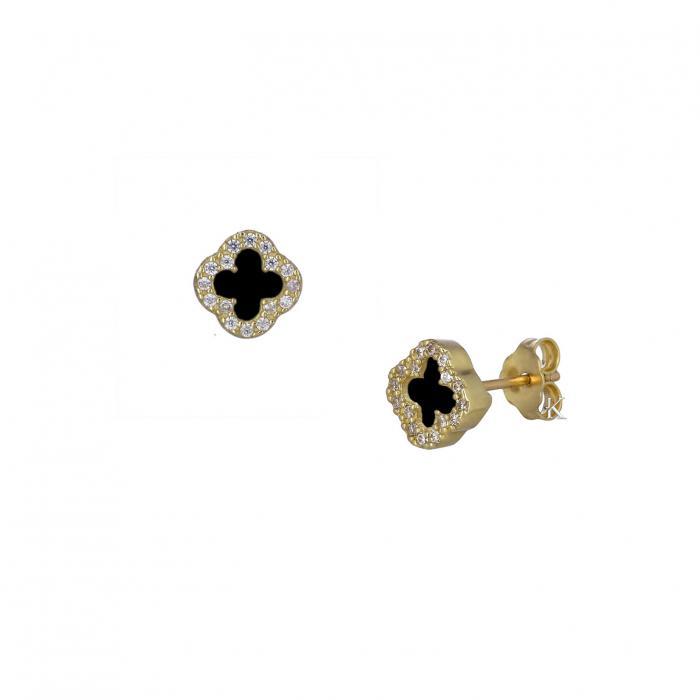 SKU-37028 / Σκουλαρίκια με Σταυρό Χρυσός Κ14 με Ζιργκόν & Μαύρο Όνυχα