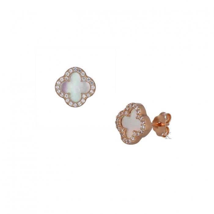SKU-37648 / Σκουλαρίκια Ροζ Χρυσός Κ14 με Φίλντισι & Ζιργκόν