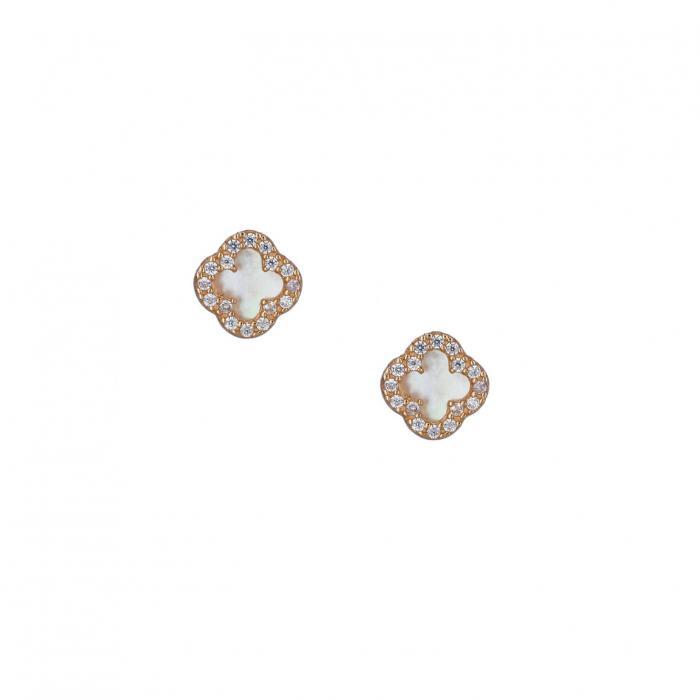 SKU-37649 / Σκουλαρίκια Ροζ Χρυσός Κ14 με Φίλντισι & Ζιργκόν