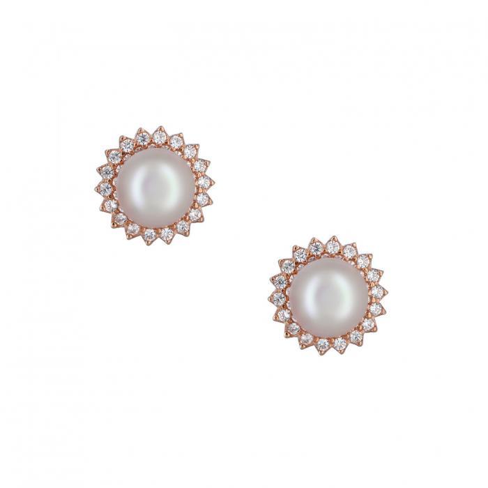 SKU-37665 / Σκουλαρίκια Ροζ Χρυσός Κ14 με Μαργαριτάρι & Ζιργκόν