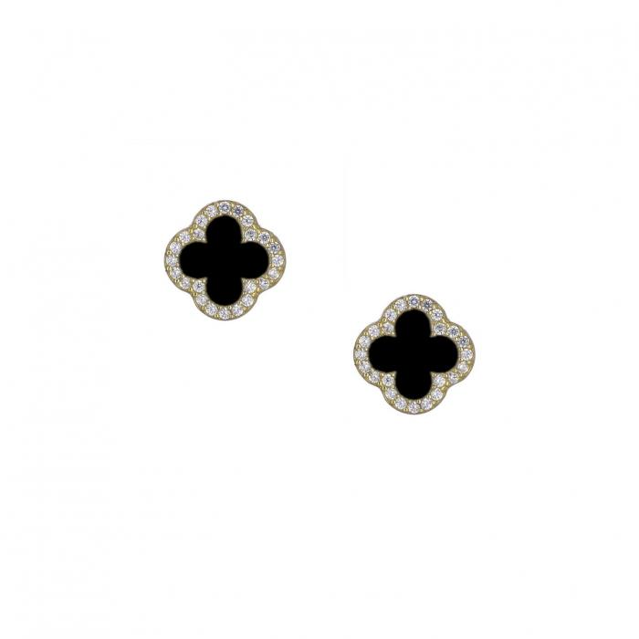 SKU-37031 / Σκουλαρίκια Χρυσός Κ14 με Μαύρο Όνυχα & Ζιργκόν