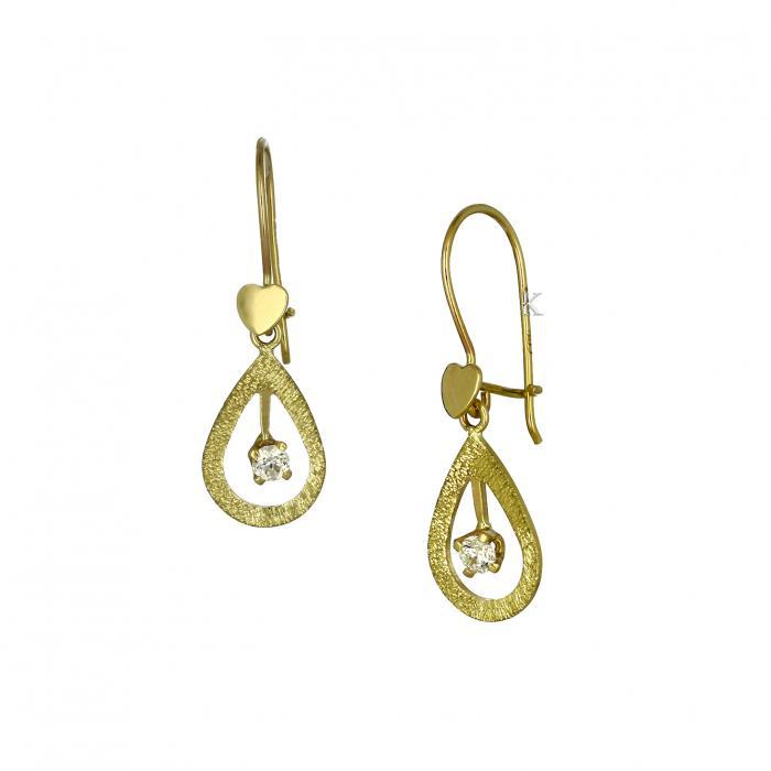 SKU-37815 / Σκουλαρίκια Δάκρυ Κρεμαστά Χρυσός Κ14 με Ζιργκόν