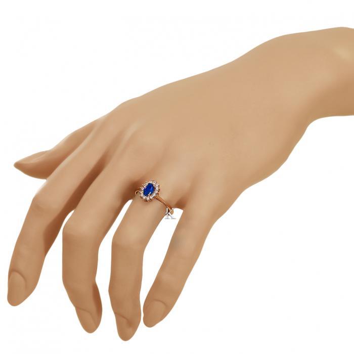 SKU-38990 / Δαχτυλίδι Ροζέτα Ροζ Χρυσός  Κ14 με Ζιργκόν