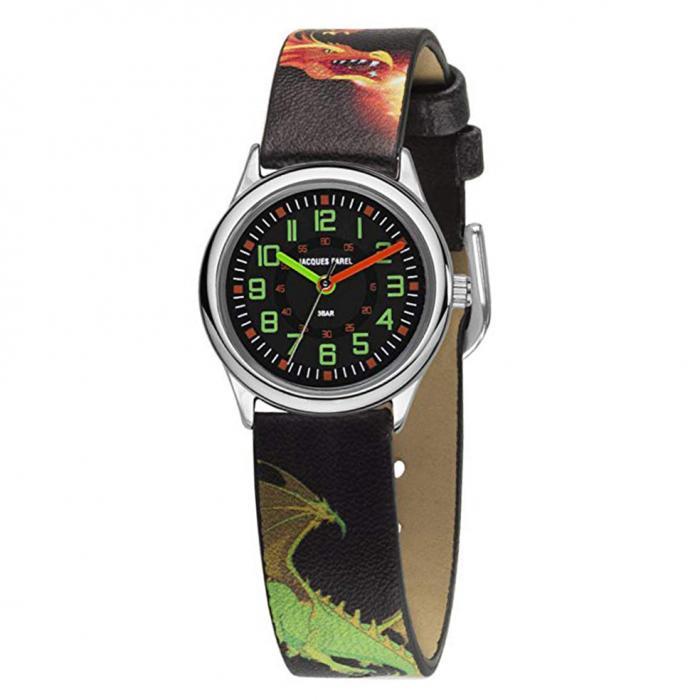 SKU-38021 / JACQUES FAREL Dragon Black Leather Strap