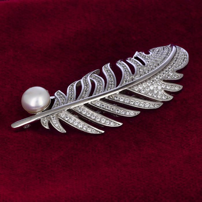 Καρφίτσα Φτερό Ασήμι 925° με Ζιργκόν & Μαργαριτάρι