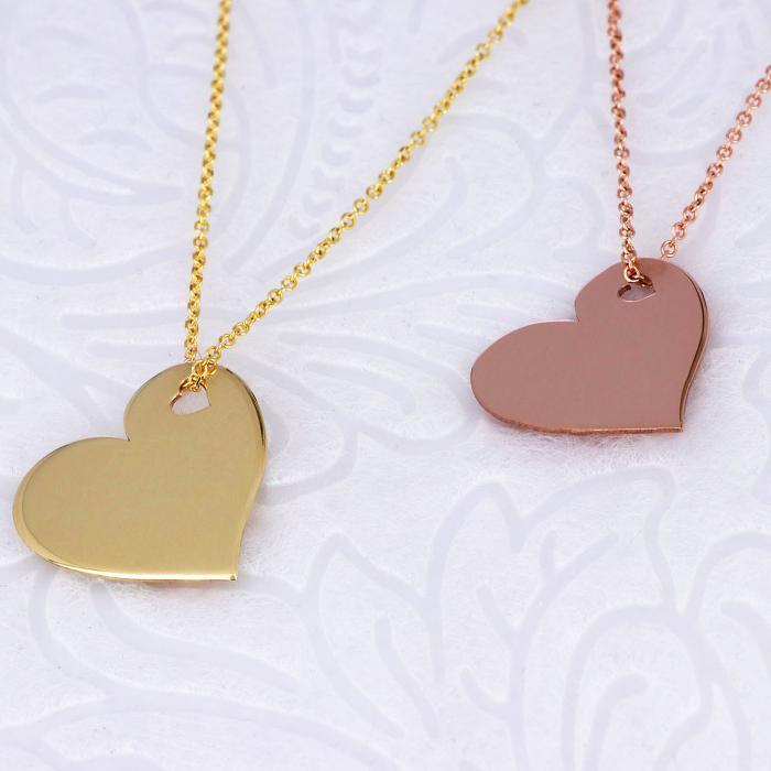 Κολιέ Καρδιά Ροζ Χρυσός Κ14