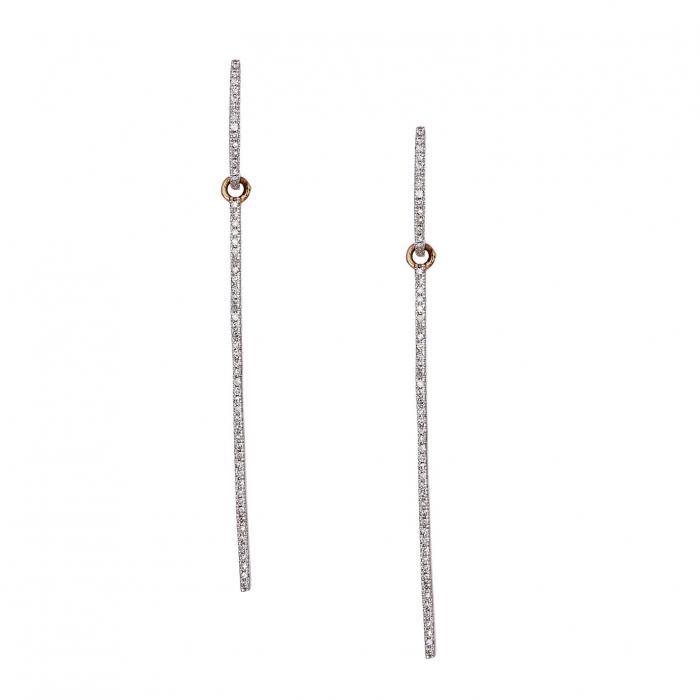 SKU-38888 / Σκουλαρίκια Ροζ Χρυσός Κ14 με Διαμάντια