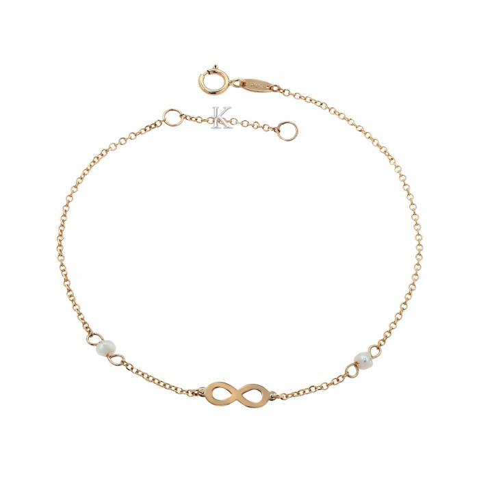 SKU-39239 / Βραχιόλι Ιnfinity Ροζ Χρυσός Κ14 με Μαργαριτάρια