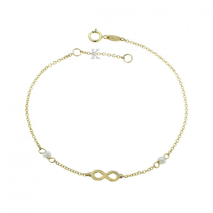 SKU-39240 / Βραχιόλι Ιnfinity Χρυσός Κ14 με Μαργαριτάρια