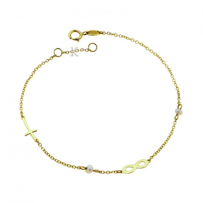 SKU-39245 / Βραχιόλι Ιnfinity Χρυσός Κ14 με Μαργαριτάρια