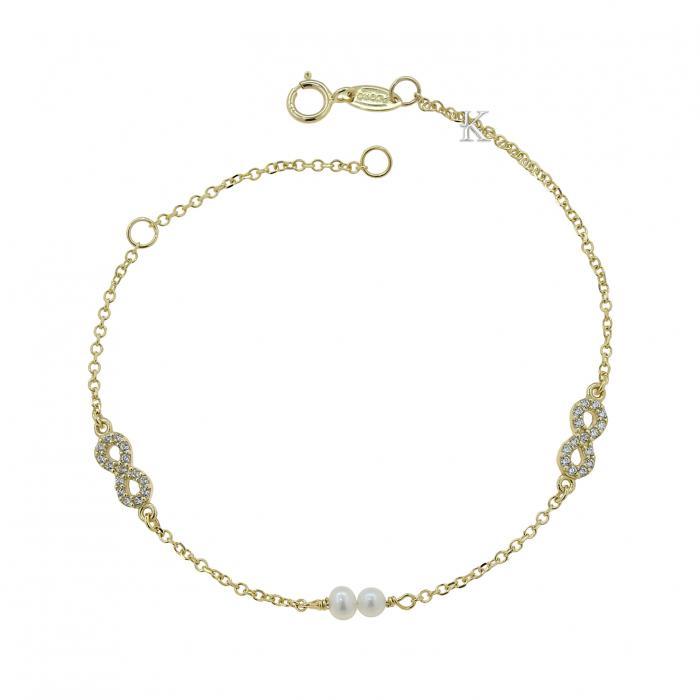 SKU-39596 / Βραχιόλι Infinity Χρυσός Κ9 με Ζιργκόν & Μαργαριτάρια