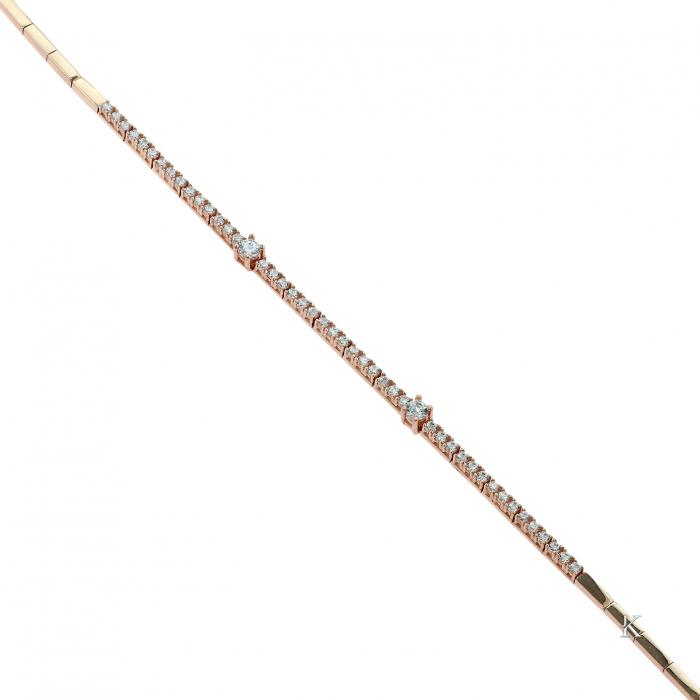SKU-39146 / Βραχιόλι Ροζ Χρυσός Κ14 με Ζιργκόν