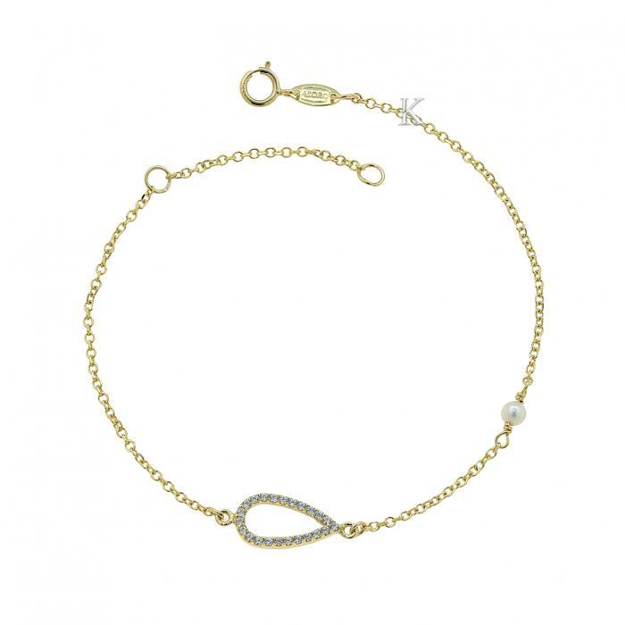 SKU-39628 / Βραχιόλι Χρυσός Κ9 με Ζιργκόν & Μαργαριτάρι