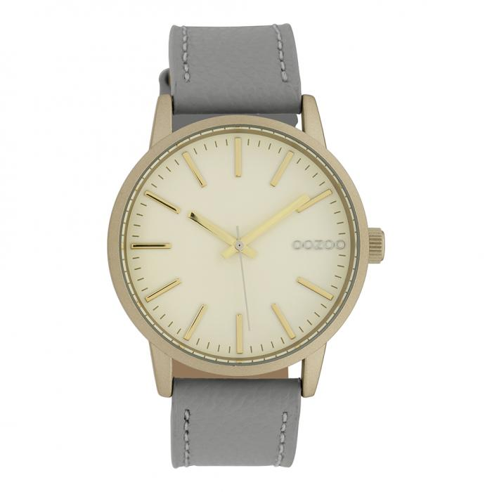 SKU-39479 / OOZOO Timepieces Grey Leather Strap