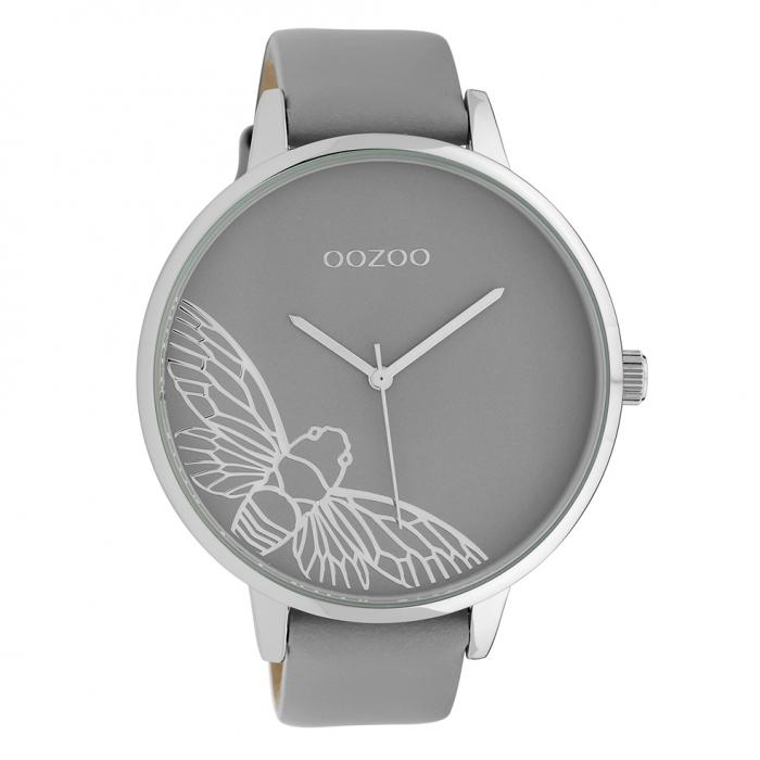 SKU-39847 / OOZOO Timepieces Grey Leather Strap
