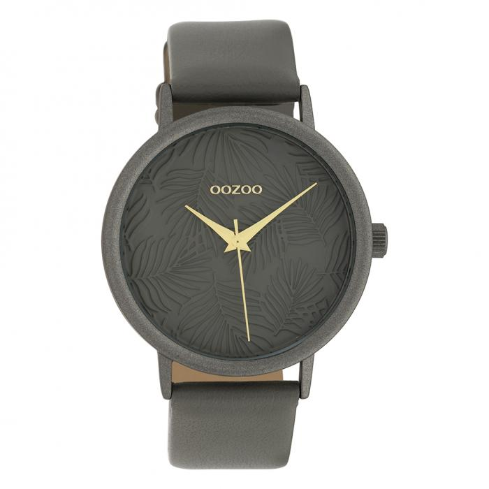 SKU-39851 / OOZOO Timepieces Grey Leather Strap