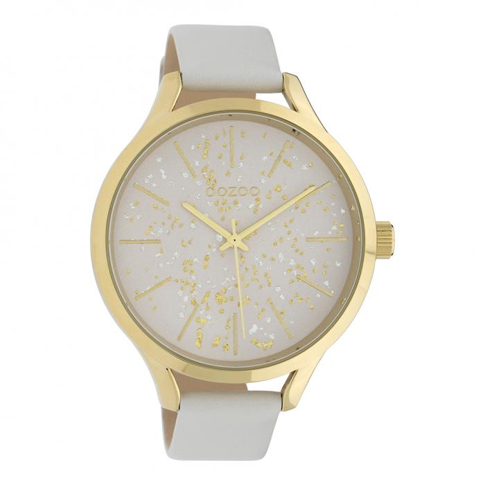 SKU-39852 / OOZOO Timepieces White Leather Strap