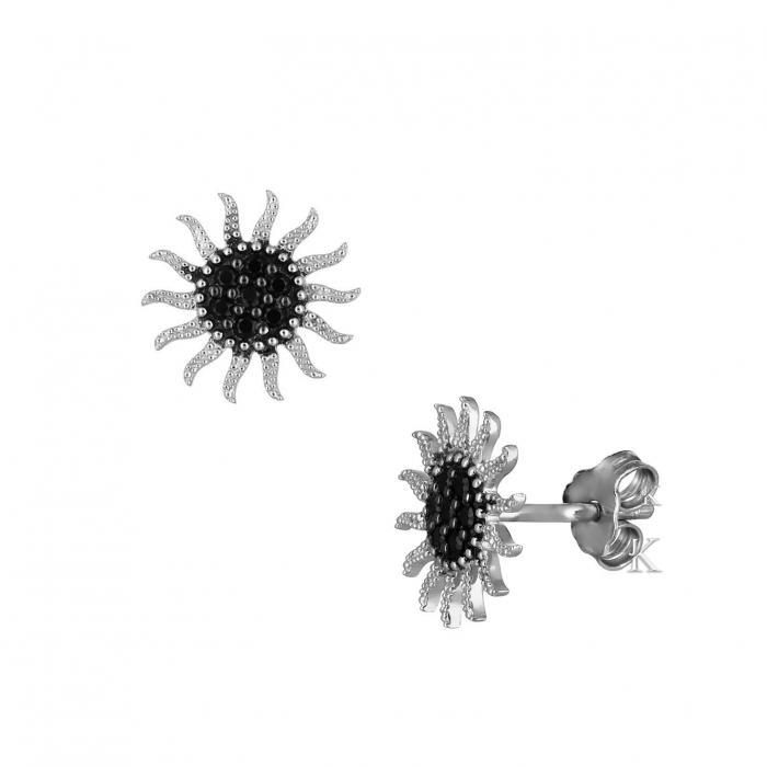 SKU-39993 / Σκουλαρίκια Λευκόχρυσος Κ14 με Ζιργκόν