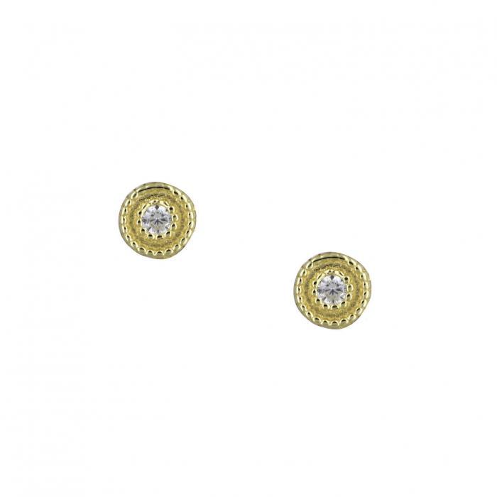 SKU-39366 / Σκουλαρίκια Χρυσός Κ14 με Ζιργκόν
