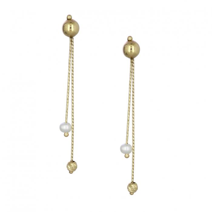 SKU-39148 / Σκουλαρίκια Χρυσός Κ14 με Μαργαριτάρι