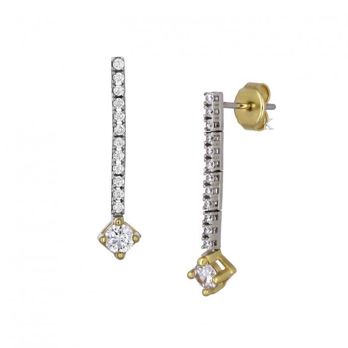 SKU-39284 / Σκουλαρίκια Λευκόχρυσος  & Χρυσός Κ14 με Ζιργκόν
