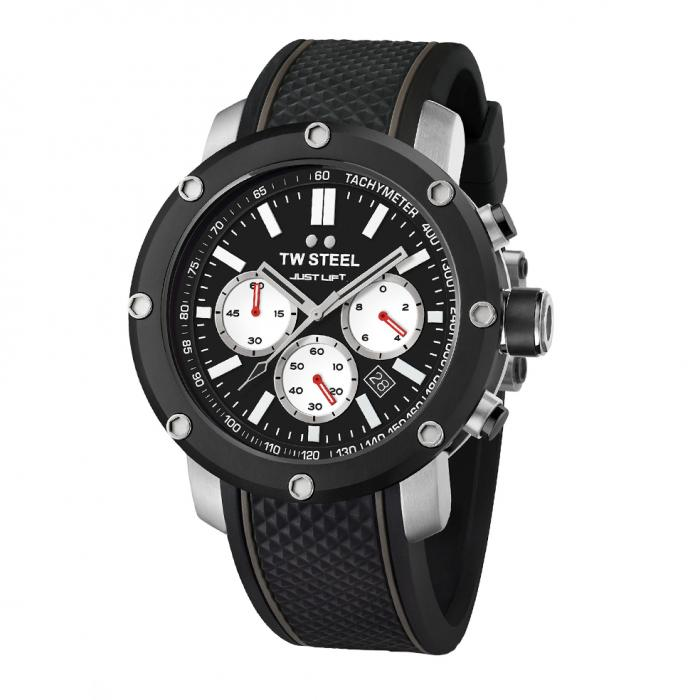 SKU-39404 / TW STEEL Simeon Panda Limited Edition Chronograph Black Silicone Strap