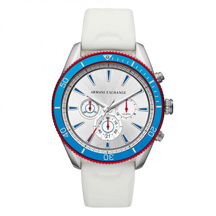SKU-40971 / ARMANI EXCHANGE Enzo Chronograph White Leather Strap