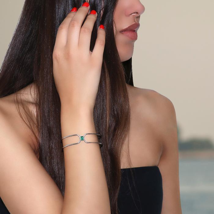 Βραχιόλι Χειροπέδα Λευκόχρυσος Κ18 με Διαμάντια & Σμαράγδι