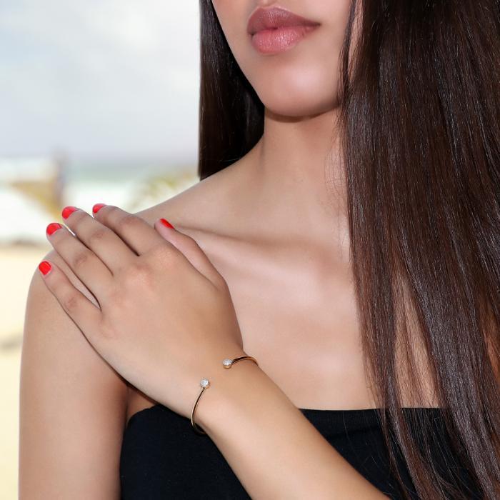 Βραχιόλι Χειροπέδα Χρυσός & Λευκόχρυσος Κ14 με Διαμάντια