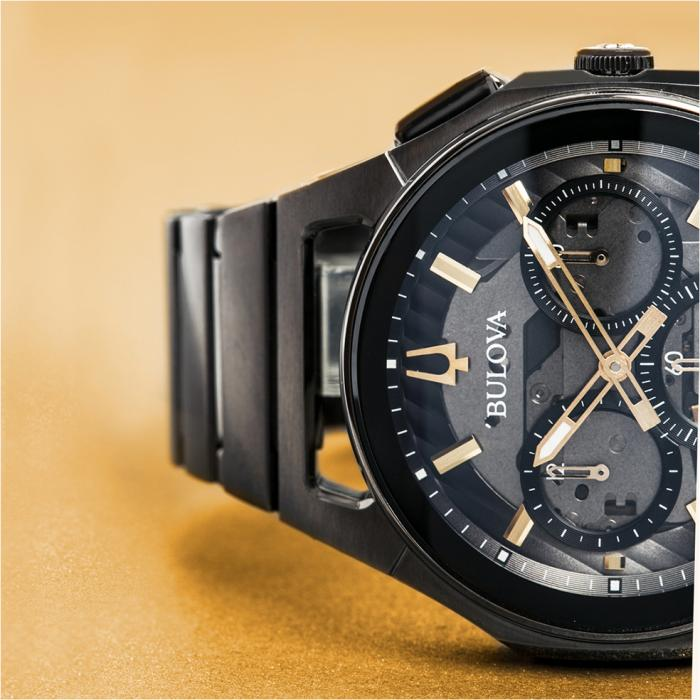 SKU-40445 / BULOVA Curv Chronograph Black Stainless Steel Bracelet