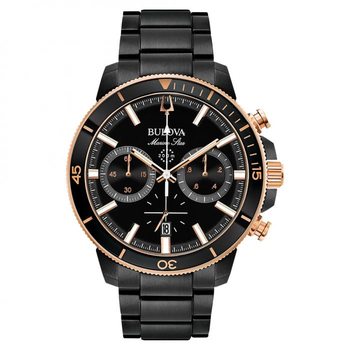 SKU-40488 / BULOVA Marine Star Chronograph Black Stainless Steel Bracelet