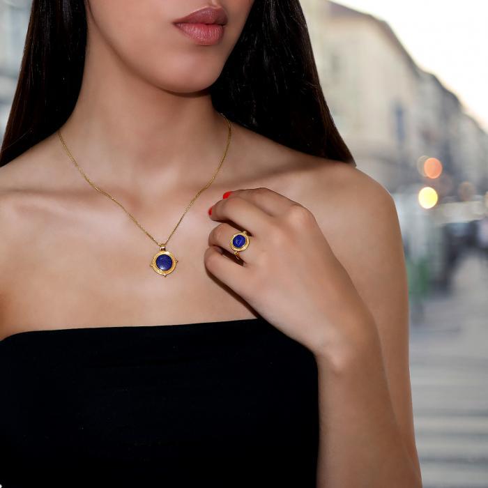 Μενταγιόν Χρυσός Κ18 με Lapis Lazuli