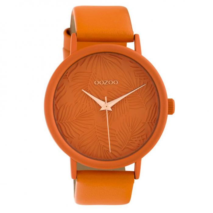 SKU-40576 / OOZOO Timepieces Limited Collection Orange Leather Strap