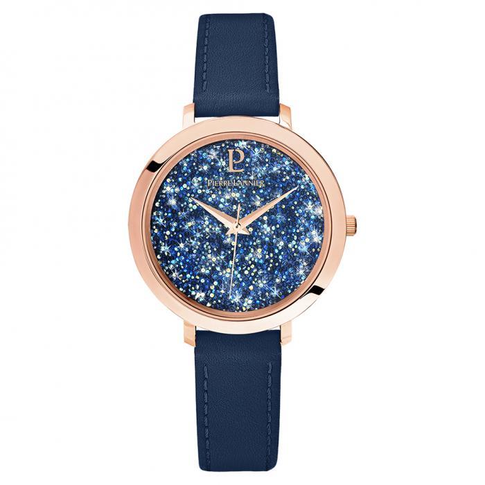 SKU-40827 / PIERRE LANNIER La Petite Cristal Blue Leather Strap