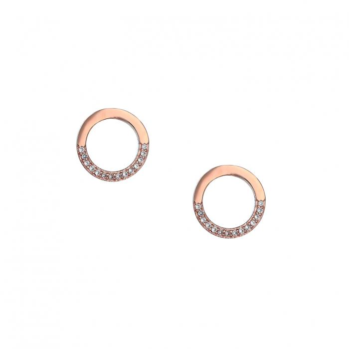 SKU-40016 / Σκουλαρίκια Καρφωτά Ροζ Χρυσός  Κ9 με Ζιργκόν