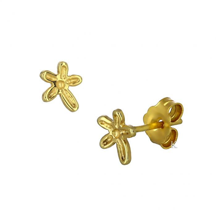 SKU-40913 / Σκουλαρίκια Λουλούδι Χρυσός Κ14