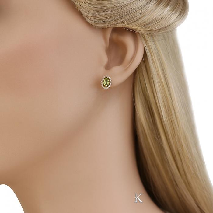 SKU-40733 / Σκουλαρίκια Χρυσός Κ14 με Peridot & Ζιργκόν