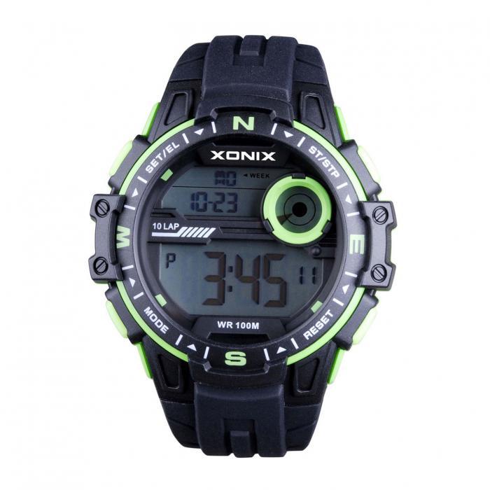 SKU-40397 / XONIX Sport Chronograph Black Silicone Strap