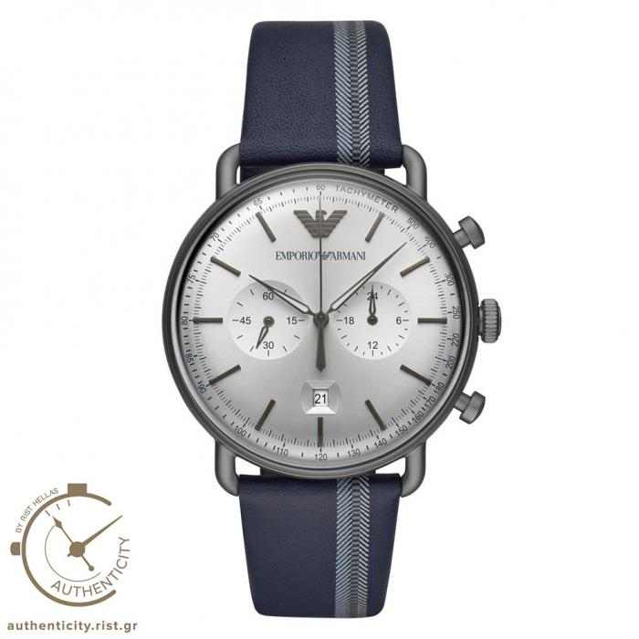 SKU-41544 / EMPORIO ARMANI Chronograph Blue Leather Strap